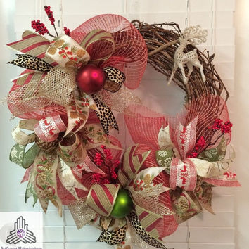 ON SALE Christmas Reindeer Faux Red Jute Burlap Deco Mesh Grapevine Wreath