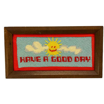 Have A Good Day Needlepoint Cross Stitch Vintage Framed Happy Face Sun Picture Sunshine Art Retro Positive Wall Hanging Desk Decor PMA