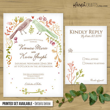 Wedding lovebirds - rustic wedding - printable wedding invitation - DIY - rustic invitation - customizable invitation - printed invitation