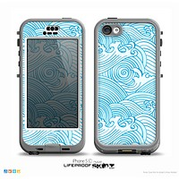 The Abstract Blue & White Waves Skin for the iPhone 5c nüüd LifeProof Case