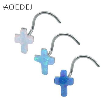 ac DCCKO2Q AOEDEJ 3 Colors Cross Nose Rings For Women Stainless Steel White Fire Opal Stone Nose Stud 20g Nose Piercing Ring L Shape