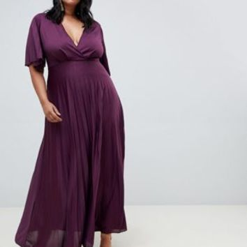 ASOS CURVE Kimono Pleated Maxi Dress at asos.com
