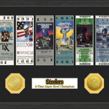 Pittsburgh Steelers Super Bowl Ticket Collection Plaque