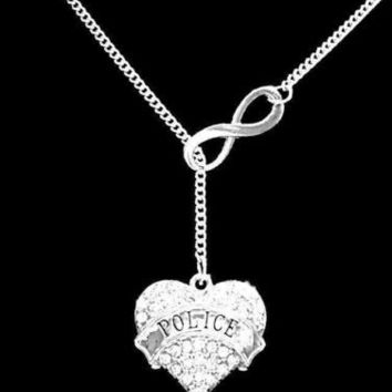 Crystal Police Heart Gift For Officer Mom Wife Infinity Lariat Necklace