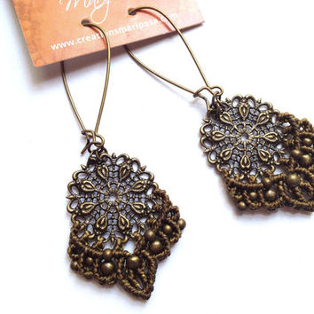 Hippie-chic kaki Mandala handwoven earrings pendants boho bohemian macrame gypsy woodland
