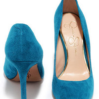 Jessica Simpson Premer Cerulean Kid Suede Leather Pointed Pumps