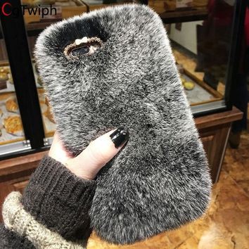 Luxury Bling Diamond Rabbit Fur Phone Case for iPhone XSmax XR XS 9 8 7 6 6S Plus SE 5 5S Cover Winter Soft Furry Plush Cases