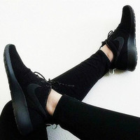 NIKE Women Men Running Roshe Sport Casual Shoes Sneakers Full black
