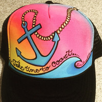 Adult small take time to coast, anchor handpainted trucker hat