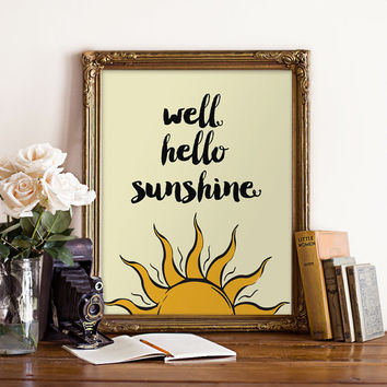 Typographic print, inspirational poster, sunshine print, sun art, wall decor, wall hanging, motivational print - hello sunshine print