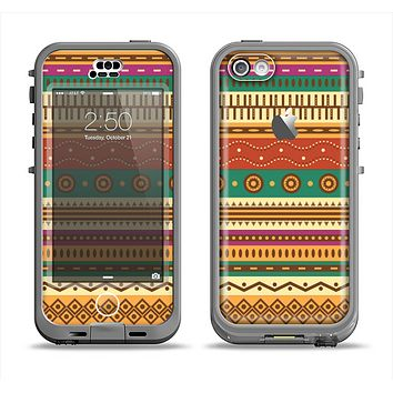 The Aztec Tribal Vintage Tan and Gold Pattern V6 Apple iPhone 5c LifeProof Nuud Case Skin Set