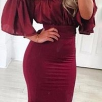 At Play Burgundy Ruched Satin Dual Fabric Wine Short Sleeve Off The Shoulder Bodycon Midi Dress