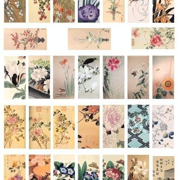 Japanese chinese watercolor paintings fowers flower clip art collage sheet 1x2 inch dominos