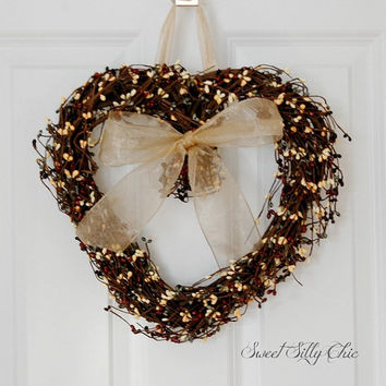 Rustic Heart Wreath, Front Door Wreath, Pip Berry Heart Wreath, Winter Wreath, Valentine's Day