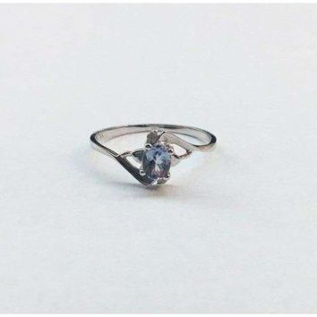 Luxinelle Light Blue Tanzanite and Diamond Ring - 10K White Gold by Luxinelle®Jewelry