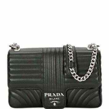 Prada Large Diagramme Shoulder Bag w/ Chain Strap