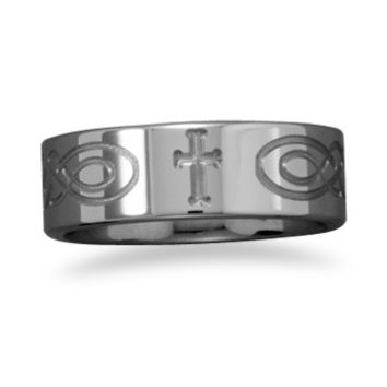 Men's Wedding Ring Tungsten Band with Etched Cross
