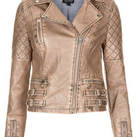 Nude Quilted Biker Jacket - Jackets & Coats  - Clothing
