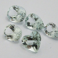 Aquamarine oval heart pear 5 Gemstones 9.21 Very light blue Gemstones March Birthstone