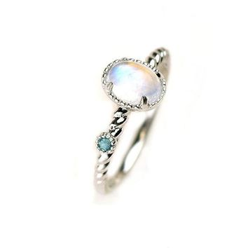 ac spbest Natural Moonstone Engagement Rings 925 Sterling Silver Jewelry For Women Gift