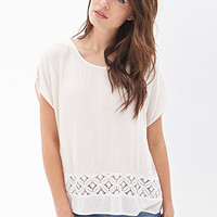 LOVE 21 Floral Lace Cutout Top Cream