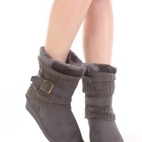 Grey Faux Suede Knitted Sleeve Casual Low Wedged Boots @ Amiclubwear Boots Catalog:women's winter boots,leather thigh high boots,black platform knee high boots,over the knee boots,Go Go boots,cowgirl boots,gladiator boots,womens dress boots,skirt boots,pi