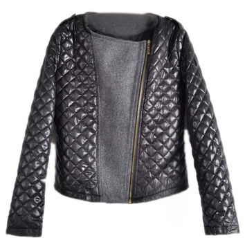 Autumn Women's Fashion Cool Long Sleeve Quilted Asymmetric Zip Jacket Women Casual Coat D-17