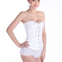 Fashion White Wedding dress Underwear Sexy Corselet For woman with Plus size Satin Overbust Embroidered Corset Bustier Top with G string Set Lingerie Waist Training S,M,L,XL,XXL,XXXL,4XL,5XL,6XL = 1958547844