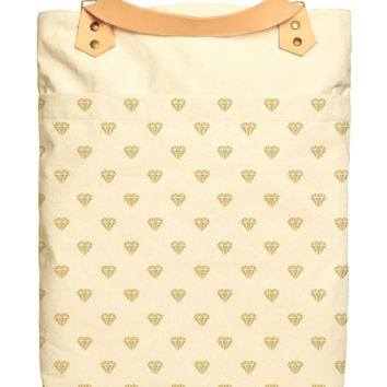 Glitter Gold Diamond Print Cotton Canvas Leather Strap Laptop Backpack WAS_34