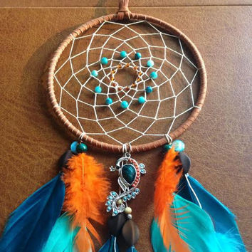 Dream Catcher - Peacock - Blue and Orange - Modern - Beaded