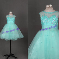 2014 mint tulle flower girl dresses,simple cheap dress for girls,latest cute girls gowns hot.