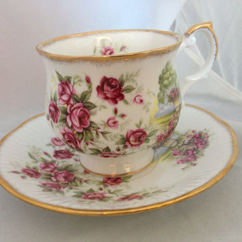 Rosina Queen's Pottery English Fine Bone China Vintage Teacup & Saucer Set - Rose Garden Urn - gold gilded edge - deep pink green roses