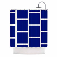 "NL designs ""Navy Square Blocks"" White Pattern Shower Curtain"
