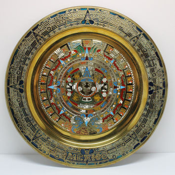 Aztec Calendar Painted Brass Plate in Enameled Style Raised Features