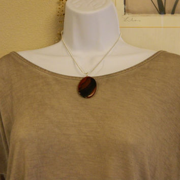 70ct. Mixed Brown Stone, Semi Precious, Agate, Pendant, Necklace, Oval, Natural Stone, 105-15