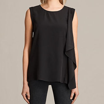 ALLSAINTS US: Womens Lisa Silk Top (Black)