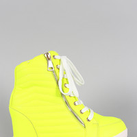 Liliana Neon Quilted High Top Wedge Sneaker