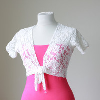 Summer bolero, white lace beach tunic, swimsuit cover up, bolero jacket