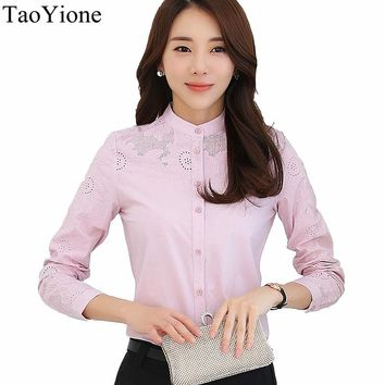 2017 New Women Blouses Shirts Long Sleeve Hollow Out Stand Cotton Blouses Fashion Elegant Office Work Shirts Casual Tops Blusa