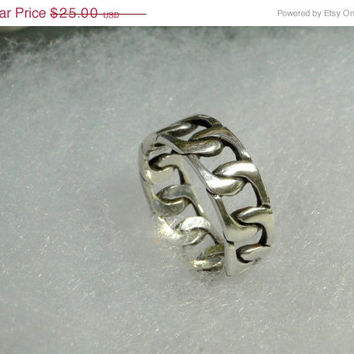 On SALE Sterling Band Men's Vintage Unisex Thumb Ring Size 8.5