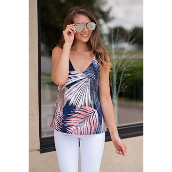 Love Me or Leave Me Tropical Print Tank: Navy
