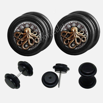 Black Acrylic steampunk Octopus Paul Plugs,fake Gauges,UV Acrylic  plugs,plugs gauges
