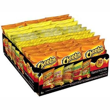 Frito Lay Flamin Hot Mix 30 Bags - Includes Flamin Hot Cheetos, Chester's Fries, Munchies, Funyuns, Cheetos Limon Crunchy