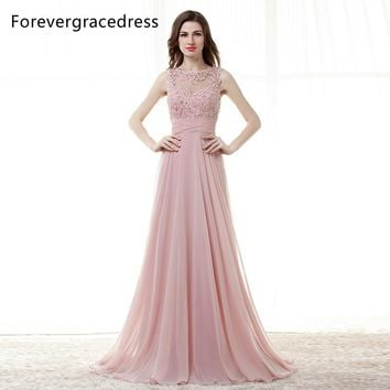 Forevergracedress High Quality Cheap Bridesmaid Dress New Arrival Long Open Back Chiffon Applique Wedding Party Dress Plus Size