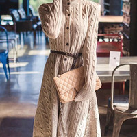 Apricot Button-Up Long Sleeve Knitted Dress with Belt