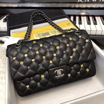 Double C Quilted Black Flower Bag