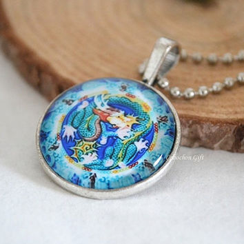 Dragon necklace,blue and white porcelain Dragon Cabochon glass pendant necklace (N15)