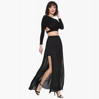 Elastic Waist Pleated Maxi Skirt with Side Slit