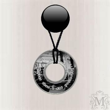 Work out Gym Motivation Resin Coated Washer Necklace