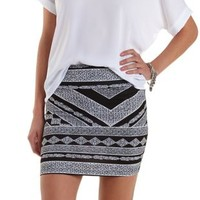Black/White Mixed Chevron Print Bodycon Mini Skirt by Charlotte Russe
